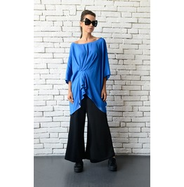 Blue Asymmetric Tunic/Elegant Loose Top/Blue Maxi Blouse From Soft Viscose