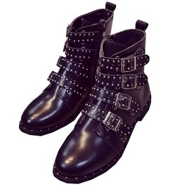 Pu Leather Rivets Buckle Straps Studded Black Motorcycle Ankle Boots Woman