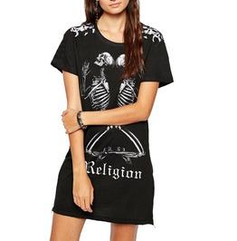 Punk Praying Skull Skeleton Religion Short Sleeve Side Zipper T Shirt Dress