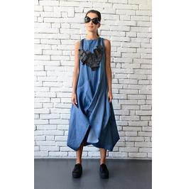 Blue Denim Asymmetric Dress/Loose Casual Dress/Oversize Blue Tunic/Blue Top