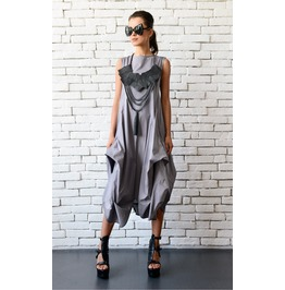Grey Loose Asymmetric Dress/Extravagant Party Dress/Plus Size Tunic