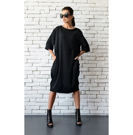 Short Loose Black Dress/Plus Size Casual Tunic/Half Sleeve Oversize Top