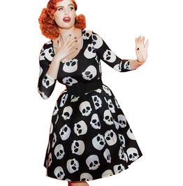 Vintage O Neck Skull Print Fit And Flare Rockabilly Pin Up Dress
