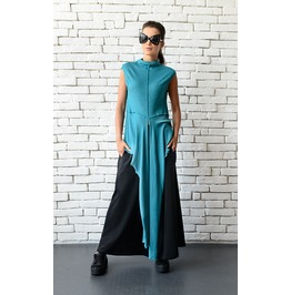 Turquoise Asymmetric Top/Extravagant Long Short Tunic/Party Twisted Top