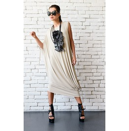 Beige Maxi Dress/Extravagant Asymmetric Tunic Dress/Plus Size Casual Dress