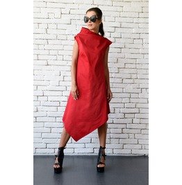 Red Asymmetric Dress/Long Short Tunic Top/Casual Summer Dress/Plus Size Top