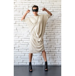 Beige Loose Dress/Oversize Tunic Top/Asymmetric Casual Summer Dress