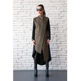 Extravagant Two Color Blazer/Oil Green And Black Loose Tunic/Sleeveless Top