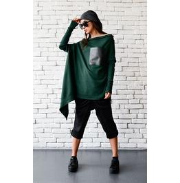 Green Maxi Tunic/Extravagant Loose Top/Long Sleeve Oversize Shirt