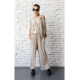 Fallen Sleeve Beige Jumpsuit/Maxi Onepiece/Plus Size Long Pants