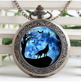 Vintage Stained Glass Moon Wolf Women Men Steampunk Pocket Watch Fob