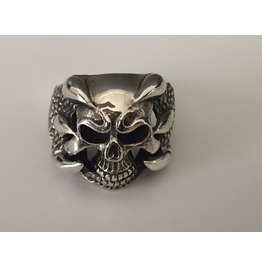 Sterling Silver Monster Biker Skull Ring