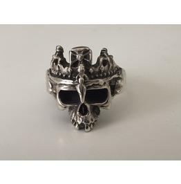 Biker Sterling Silver King Skull Ring