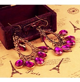 Vintage Inspired Bronze Purple Crystal Chandelier Tassel Dangle Earrings