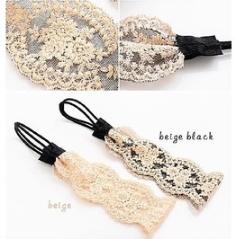 Elegant Vintage Wide Rose Flower Lace Elastic Embroidery Knit Headbands