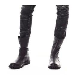Handmade Men Black Back Zip Up Boots, Men Military Style Boot, Mens Boots