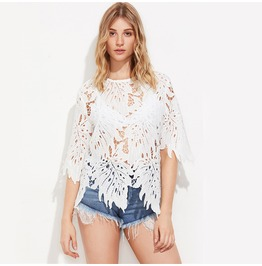Hollow Out Lace Flower Tops, T Shirts