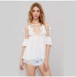 Sexy Mesh Patchwork Lace Flower Tops, T Shirts