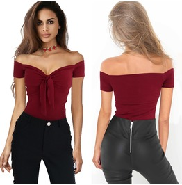 Sexy Off Shoulder Plunge Neck Tops