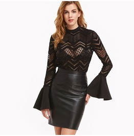Elegant Long Bell Sleeves Black Lace Tops