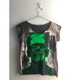 Frankenstein Punk Rock Pop Art T Shirt Crop Top M