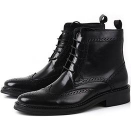 Handmade Men Black Wingtip Brogue Ankle Dress Leather Boot Men Leather Boot