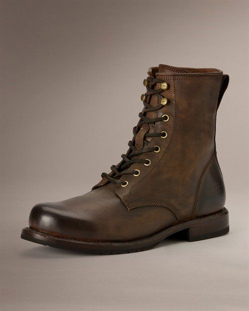 Men Brown Combat Boot Men Lace Up Military Boots