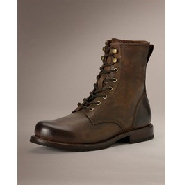 Men Brown Combat Boot, Men Lace Up Military Boots, Handmade Leather Boot