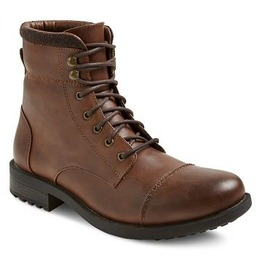 Men Brown Combat Boot, Men Cap Toe Military Boots, Handmade Leather Boot