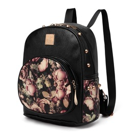 Black Rivet Dark Rose Backpack Mini 3 D Print Floral Designer Female
