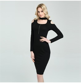 Halter Neck Open Shoulder Long Sleeves Bodycon Dress