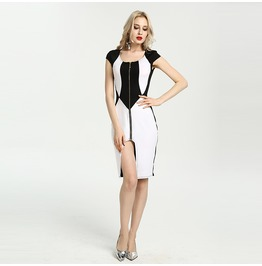Black And White Zipper Up Bodycon Dress
