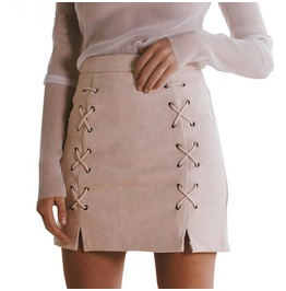 Suede Lace Up Women's Mini Skirt Black Light Pink