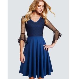 Mesh Dot Sleeves Blue Dress Dress