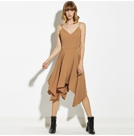 Sleeveless V Neck Spaghetti Strap Asymmetric Dress