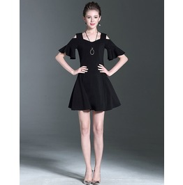 Short Sleeves Off Shoulder Black Dress