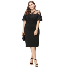 Goth Plus Size Lace Mesh Patchwork Bodycon Ruffles Illusion Party Dress