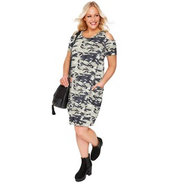 Plus Size Women Cold Shoulder Camo T Shirt Dress