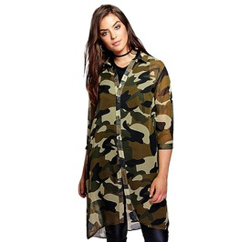 Plus Size Women Chiffon 3/4 Sleeve Boyfriend Longline Camo Shirt Dress