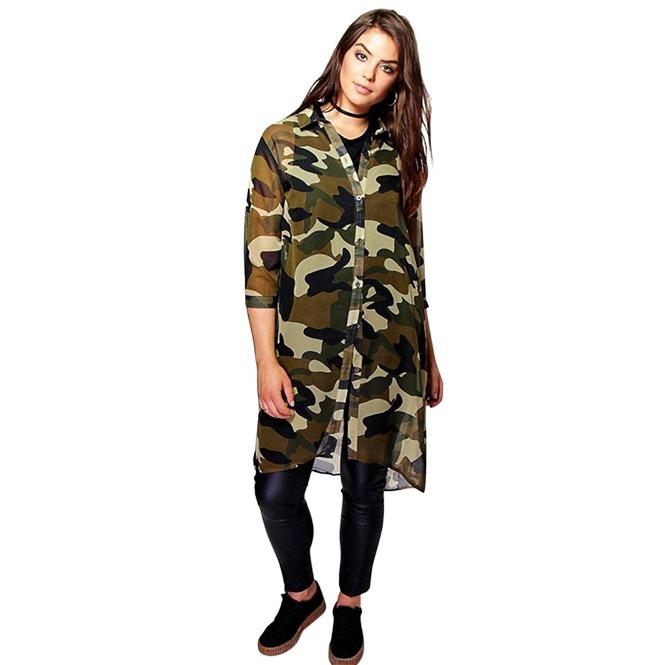 Plus Size Women Chiffon 34 Sleeve Boyfriend Longline Camo Shirt Dress