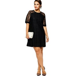 Plus Size Women Checkered Pattern O Neck Sheer Mesh Shirt Dress