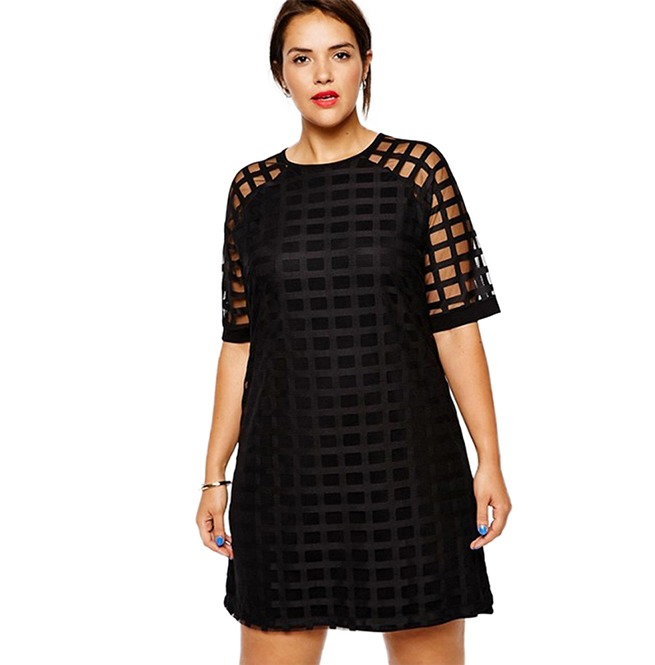 Plus Size Women Checkered Pattern O Neck Sheer Mesh Shirt Dress 144713