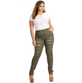 Women Plus Size Army Green High Waist Distressed Skinny Jeans