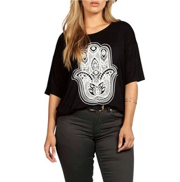 Plus Size Black Oversized Hand Print Boho Hippie Shirt