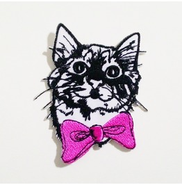 Cat Cartoon With Pink Ribbon Embroidered Iron On Patch.