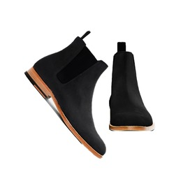 Handmade Men Black Chelsea Boot, Men Black Suede Chelsea Boot, Men Boots