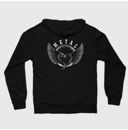 Metal Heart Zip Front Hoody