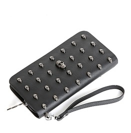 New Fashion Women Wallet Long Pu Leather Purse Clutch Vintage Punk Skull