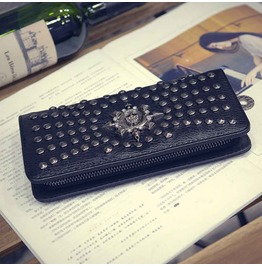 2017 Skull Studded Flame Long Wallet Women Purse Clutch Vintage Punk