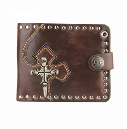 Biker Punk Rock Leather Chain Pocket Wallet Cross Stud Vintage Embroidered